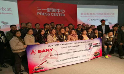 SANY signs a big order with Thailand dealer valued at nearly US$ 4.34 million